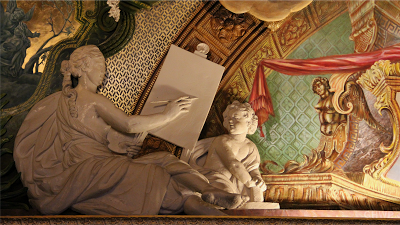 Detail of the wall decoration inside Schloss Charlottenburg