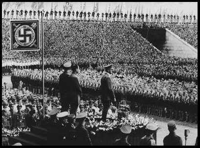 Hitler addresses the Hitler Youth at Nuremberg in 1938