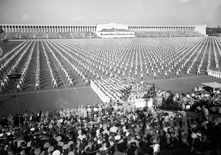 Mass-gymnastics-were-the-feature-of-the-Day-of-Community-at-Nuremberg-Germany-on-September-8-1938-and-Adolf-Hitler-watched-the-huge-demonstrations-given-on-the-Zeppelin-Field.-AP-Photo