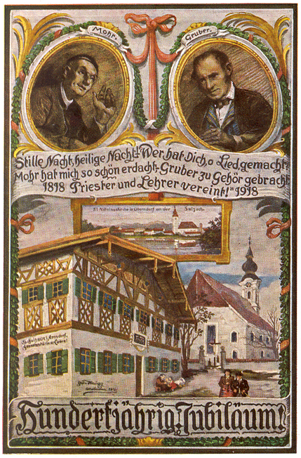 Card celebrating the 100th anniversary of the carol Silent Night in 1918: Joseph Mohr, Franz Gruber and Oberndorf
