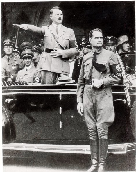 Adolf Hitler (DEAD) gives a Nazi salute, with deputy Rudolf Hess