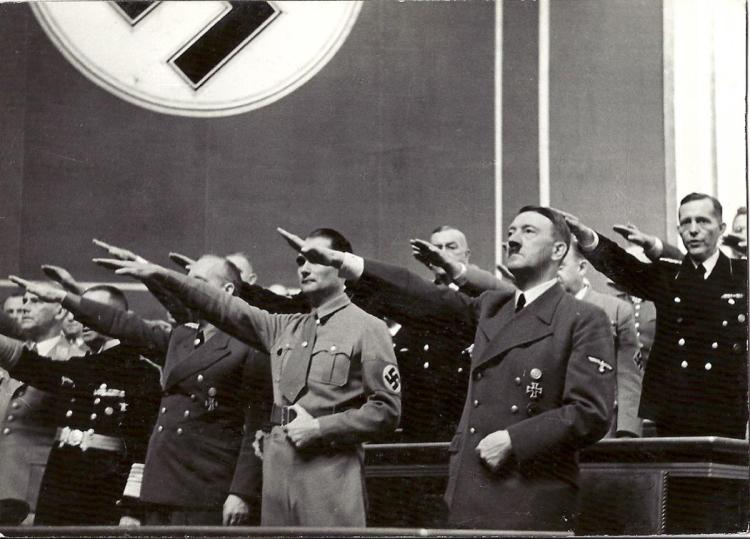 Hitler at Reichstag with Rudolf Hess & Joachim von Ribbentrop1