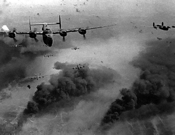 One of the many bombing raids carried out by the US against German 'strategic targets'