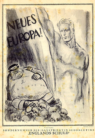 """This is the interior cover. In large letters, the phrase is """"A new Europe!"""" A fat Englishman is sitting on a pile of skulls."""