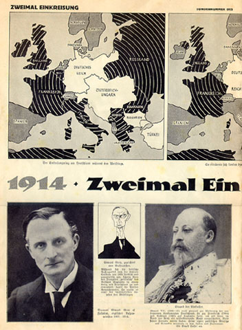 "p. 4-5: This and the next illustration go together. The caption in the center reads: ""1914 — Two Encirclements — 1939."" The map to the upper right shows how Germany and its allies were surrounded in 1914. The middle map shows the situation in 1939. The map to the left on the page below shows the results after the conquests of Czechoslovakia and Poland."