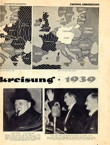 "The pictures below the main caption discuss various English figures. The most interesting is the one at the bottom right of this page, a description of Winston Churchill: ""He twice attempted encirclement. Churchill and Lord Grey incited England into war in 1914. He played the same role in 1939, in part to satisfy his own drive for power. His lack of honesty and dirty dealings got on the nerves of many of his current ""colleagues."" One of his first official acts was the unscrupulous sinking of the Athenia."