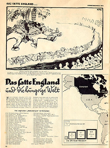 pp. 16-17 show the extent of the British Empire. The cartoon at the top of this picture, from the well-known cartoonist Low, shows prosperous Englishmen protected by barbed wire from the world's less fortunate. There follows a list of England's colonial possessions.