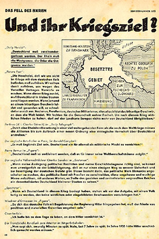 "p. 46: This page claims that England wants to destroy Germany. The map shows a dismembered Germany, with the white remnant occupied territory. The quotations are from British newspapers. A typical one runs: ""Germany must be dismembered. The Rhine should be its western border, the Oder its eastern border."" The English ambassador to France is cited as saying: ""England's goal must be to destroy Germany's military strength once and for all!"""