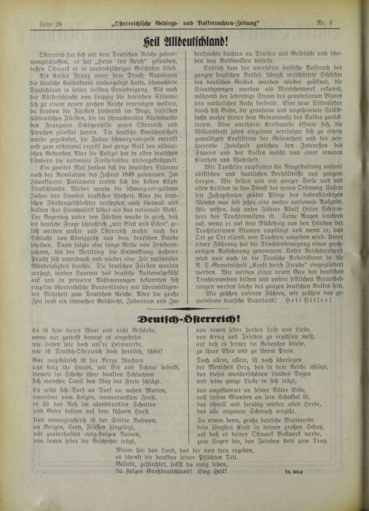 Österreichische Alpine, Volks- und Gebirgs-Trachten-Zeitung, 1. April 1938