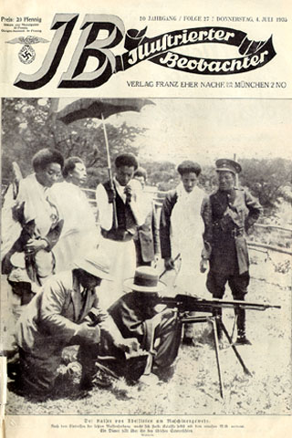 Cover of 4 July 1935 issue. Emperor of Ethiopia test-firing a machine gun.
