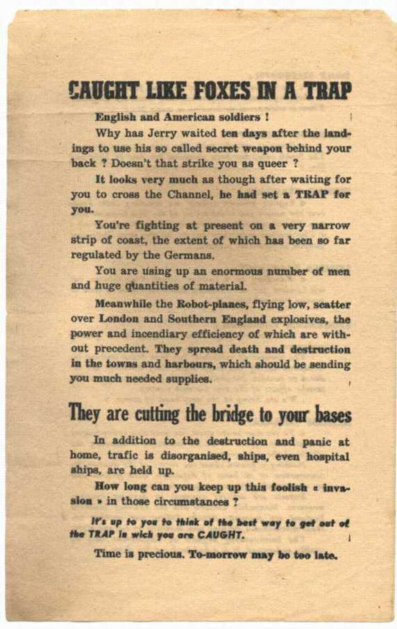This leaflet attempts to persuade American soldiers that the V-1 rocket will turn the tide of the war.