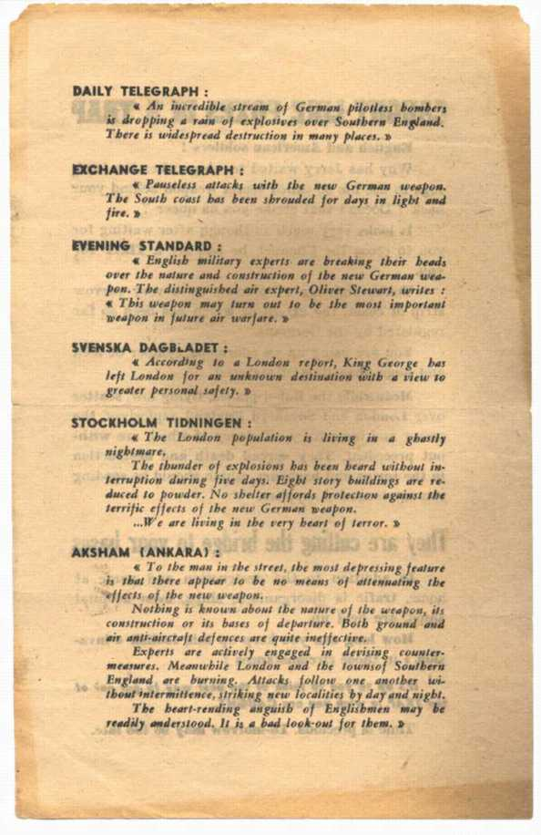 The reverse of the above leaflet, with quotations from the foreign press.