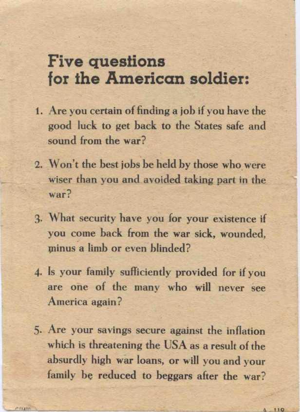 A leaflet to encourage surrender.