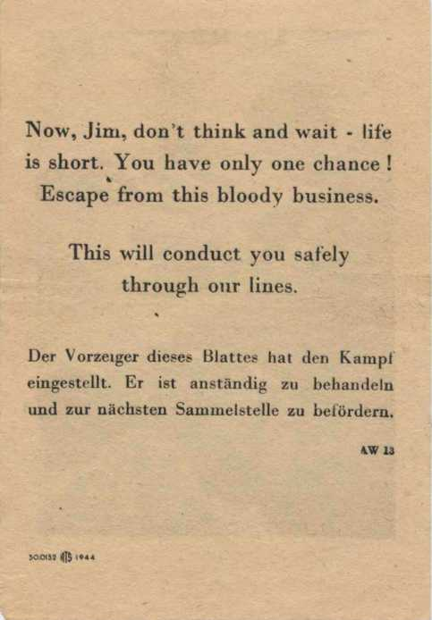 The opposite side of the above leaflet. The German text says to give the bearer safe conduct.