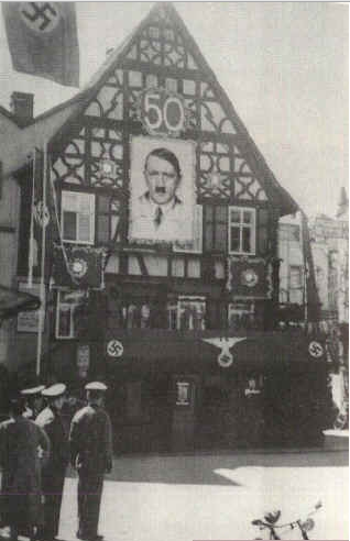 Buildings on the Marktplatz in Bad Kissingen were decorated in commemoration of Adolf Hitler's 50th birthday.