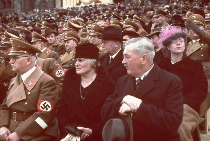 Guests of honor at a rally and military parade in celebration of Adolf Hitler's 50th birthday, Berlin, April 20, 1939.