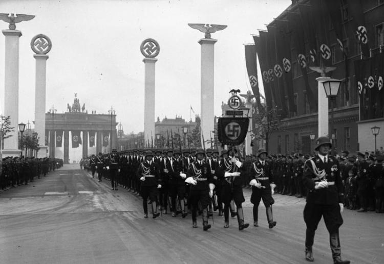 Soldiers of the Leibstandarte SS Adolf Hitler march through Berlin during the military parade in celebration of Adolf Hitler's 50th birthday, April 20, 1939.