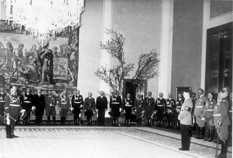 The NSDAP congratulating Hitler at the Reichskanzlei in Berlin for his 50th birthday, April 20, 1939.