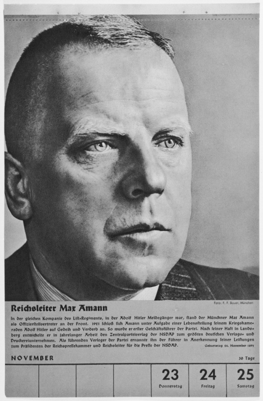 Portrait of Reichsleiter Max Amann. One of a collection of portraits included in a 1939 calendar of NSDAP officials.
